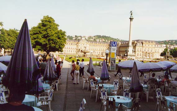 View of the Schlossplatz in Stuttgart from a Cafe photo